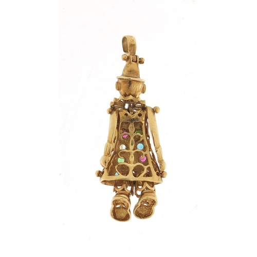 53 - 9ct gold articulated clown pendant, set with colourful stones, 4cm in length, 4.2g...