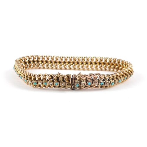 52 - 9ct rose gold turquoise and seed pearl bracelet, 18cm in length, 16.5g...