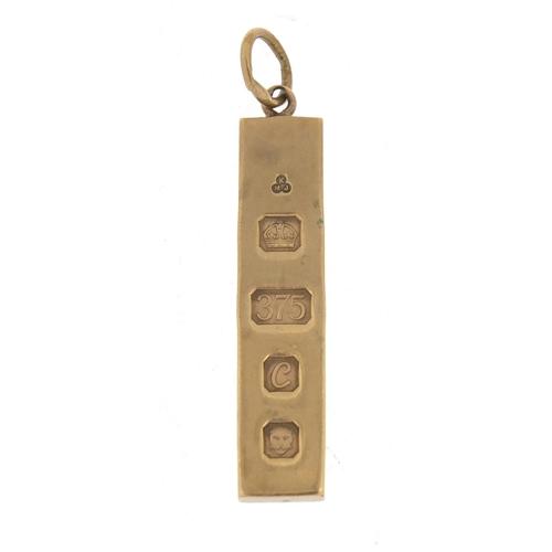 88 - 9ct gold ingot pendant, 6cm in length, 30.8g...