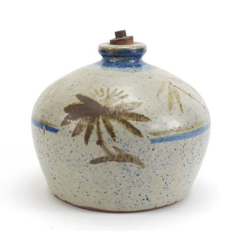 427 - Contemporary Studio Pottery lamp base, sparsely decorated with a tree, 17cm high...