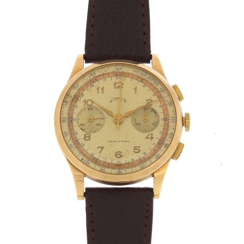 149 - Gentlemen's 18ct gold Telda chronograph wristwatch, 37mm in diameter...