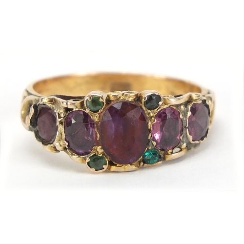 90 - Victorian 9ct gold garnet and greenstone ring, size R, 3.2g...