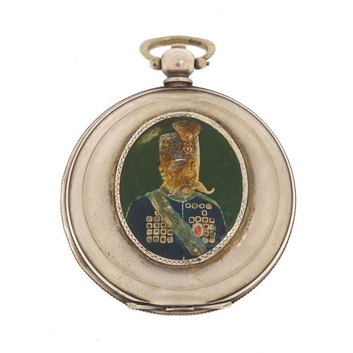 26 - Antique Ottoman full hunter pocket watch by K Serkisoff of Constantinople, the case enamelled with a...
