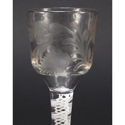 3 - 18th century wine glass with opaque twist stem and etched floral bowl, 15cm high...