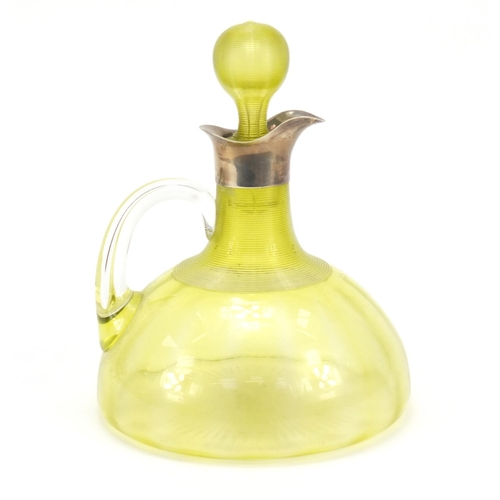 6 - Victorian uranium glass decanter with silver spout by Brockwell & Son, London 1895, 20cm high...