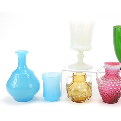 9 - Victorian glassware including a Nailsea style mallet flask, blue glass carafe with beaker, Stevens &...