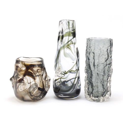 14 - Two Whitefriars knobbly glass vases and a Bark vase designed by Geoffrey Baxter, the largest 25cm hi...