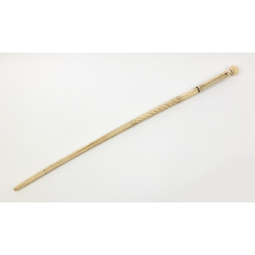33 - Antique Scrimshaw carved whalebone walking stick with four pillars, 92.5cm in length...