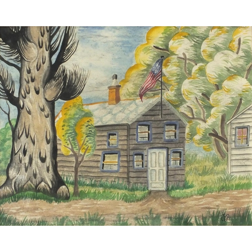 1205 - Trees by a house with American flag, watercolour, framed and glazed, 48cm x 38cm...