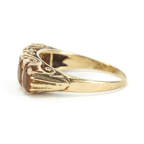 54 - 9ct gold citrine five stone ring, size O, 4.2g...