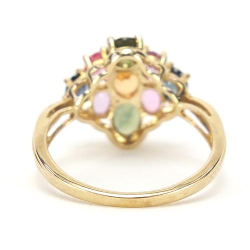 92 - 9ct gold multi gem cluster ring, size P, 3.4g
