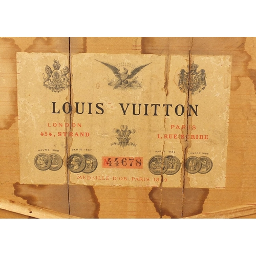 2060 - Early Louis Vuitton wooden and metal bound steamer/travelling trunk with twin handles, paper label t...