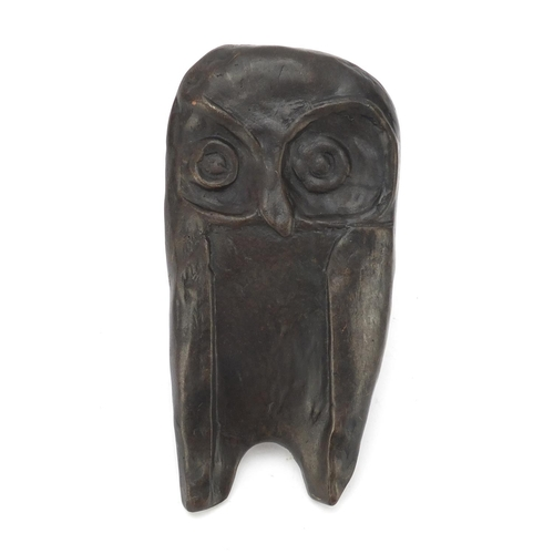 5 - Modernist patinated bronze owl plaque in the manner of Gertrude Hermes, 20cm high...