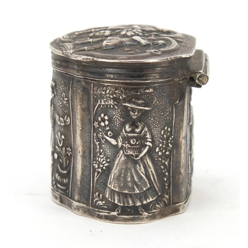 21 - Antique Dutch silver peppermint box embossed with figures, 3.2cm high, 16.4g...