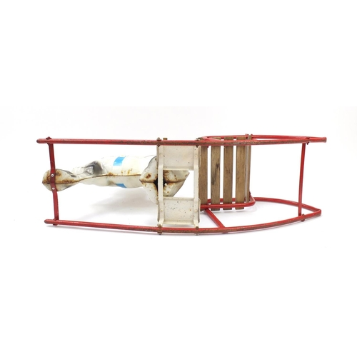 1526 - Vintage Mobo tinplate rocking horse, 99cm in length...