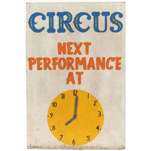 1135 - Vintage Circus Next Performance clock advertising board...