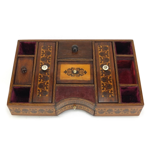 36 - Victorian Tunbridge ware desk tidy with micro mosaic floral inlay and base drawer, 6cm H x 28.5cm W ...