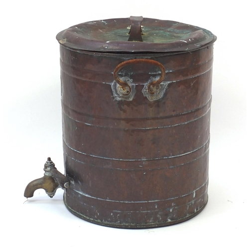 1528 - Large copper and brass urn with tap, 48cm high...
