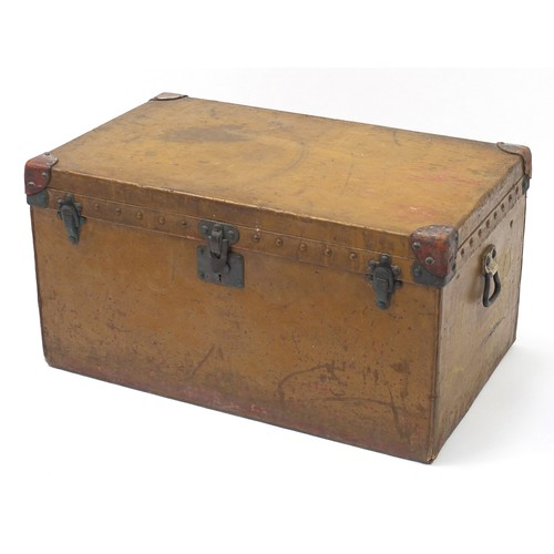 2061 - Early Louis Vuitton leather and metal bound steamer/travelling trunk with twin handles and lift out ...