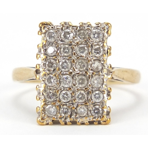 50 - 9ct gold diamond cluster ring, size L, 3.2g...