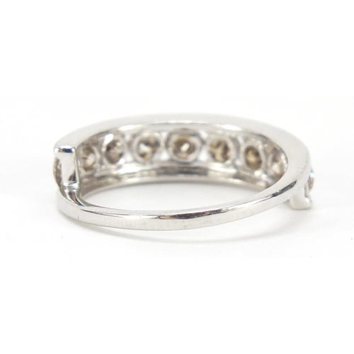 19 - 9ct white gold diamond half eternity ring, size K, 2.6g...