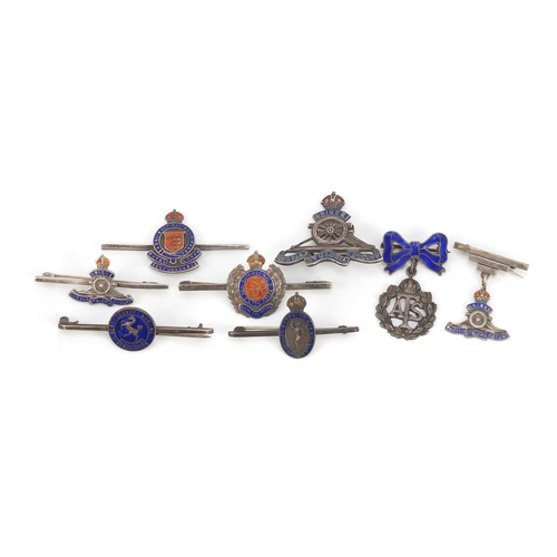 56 - Eight silver and enamel British military brooches including Royal Engineers, the largest 5cm wide, 3...