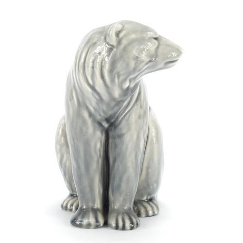 4 - Minton pottery polar bear having a grey glaze, 14cm high...