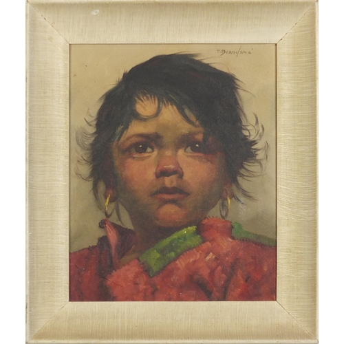 29 - Jeanne Brandsma - Young child with hooped earrings,  oil on canvas, mounted in contemporary frame, 2...