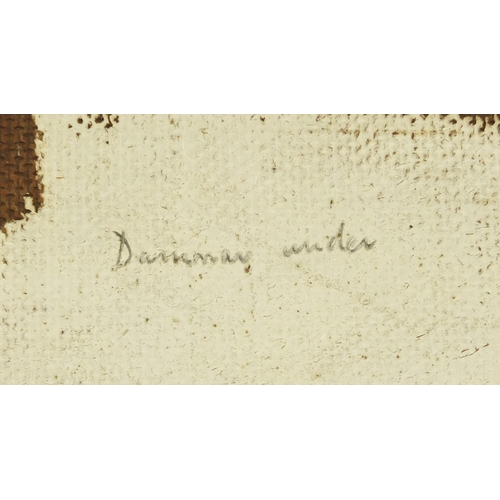 25 - Humphrey Spender 1953 - A Spanish scene, oil on board, label and inscription verso, framed, 71cm x 5...