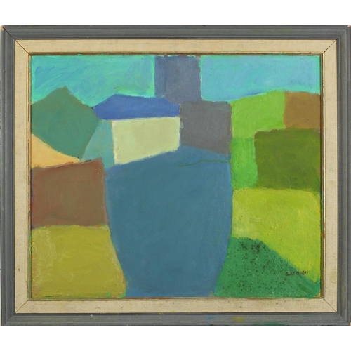 28 - Attributed to Sally Michel - Abstract composition, oil on board, inscribed verso, mounted and framed...