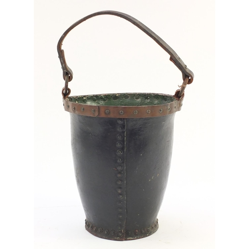909 - 19th century military interest leather fire bucket hand painted with 56th Group Pioneer Corps regime...