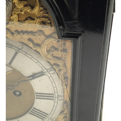 32 - George III ebonised twin fusée repeating bracket clock striking on a bell by Thomas Wagstaffe of Lon...