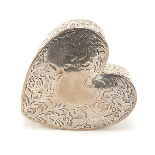 24 - American sterling silver love heart shaped jewel box with velvet lined interior, numbered 504 to the...