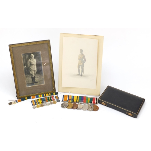 903 - British military World War I and World War II seven medal group with dress medals and photographs of...