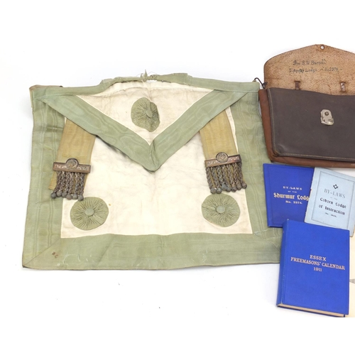 1564 - Freemason's sash, leather pouch and certificate and calendar...