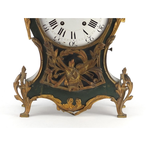 33 - Large 18th/19th century bracket clock with ornate gilt metal mounts and enamel dial, having Roman an...