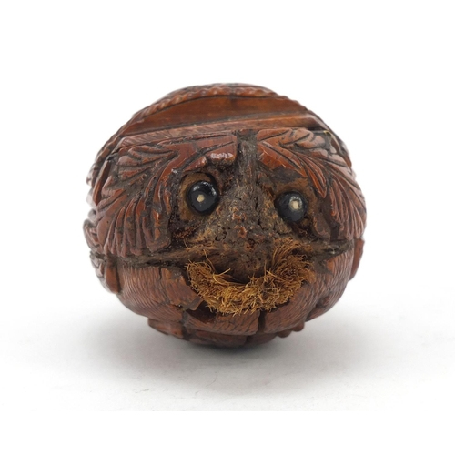 121 - 18th century coquilla nut snuff box carved with a male and female, 8.5cm in length...