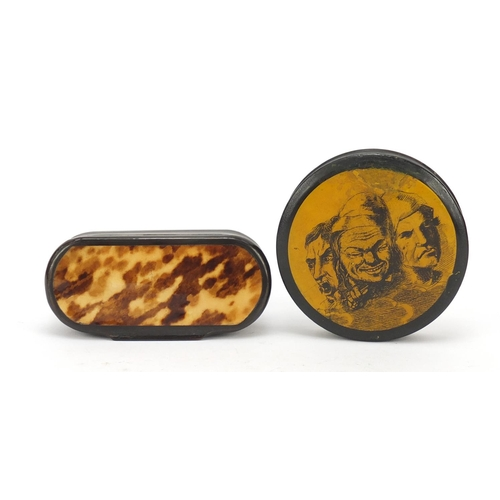 123 - 19th century horn and blonde tortoiseshell snuff box and a papier-mâché example, the largest 10cm wi...