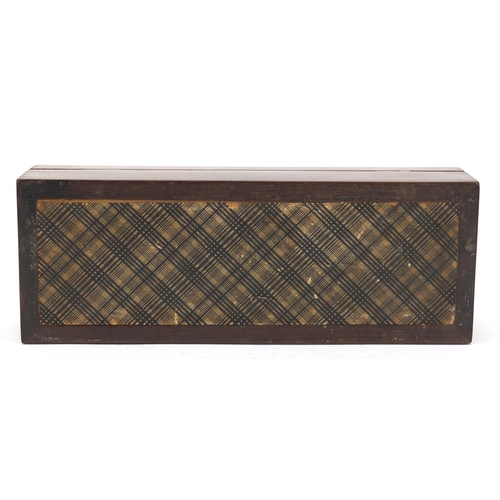 37 - Victorian Tunbridge ware card box with cribbage board hinged lid inlaid with a butterfly, 6cm H x 23...