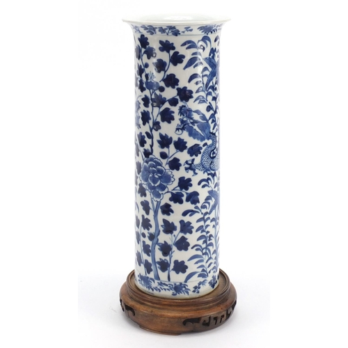 9 - Chinese blue and white porcelain sleeve vase raised on carved hardwood stand, the vase hand painted ...