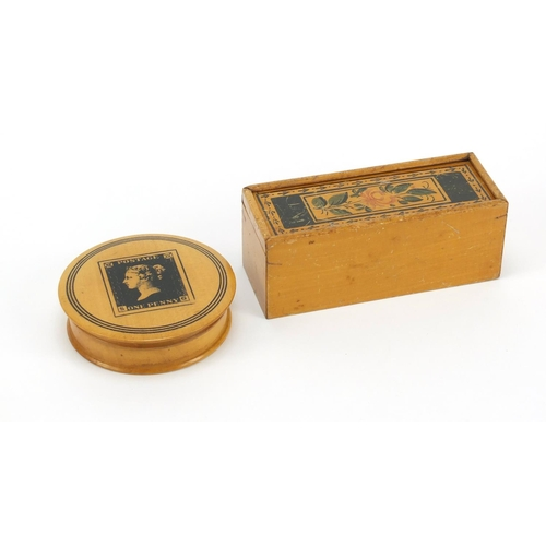 38 - Early Tunbridge ware white wood painted box and a satinwood snuff box decorated with a penny red sta...