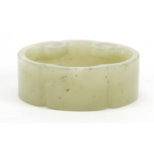13 - Chinese carved green jade brush washer, 5.5cm in diameter...