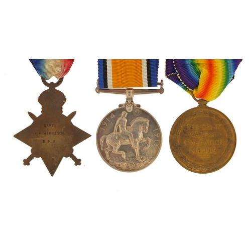 907 - British military World War I trio comprising a pair awarded to MAJOR.P.F.HARRISON and a Star awarded...