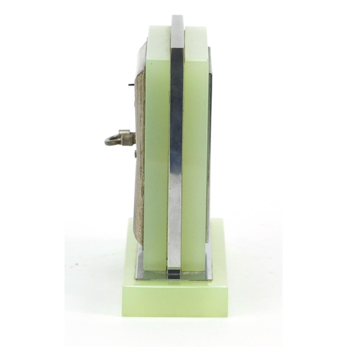 6 - Art Deco chrome and lime green glass desk clock with silvered dial having Arabic numerals, 12cm high...