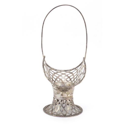 23 - Edward VII pierced silver basket by William Hutton & Sons Ltd, Sheffield 1907, 24cm high, 240.4g...