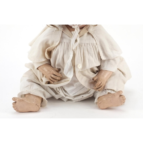 1136 - German bisque headed doll, Hanna by Schoenau & Hoffmeister with composite limbs, 55cm in length...