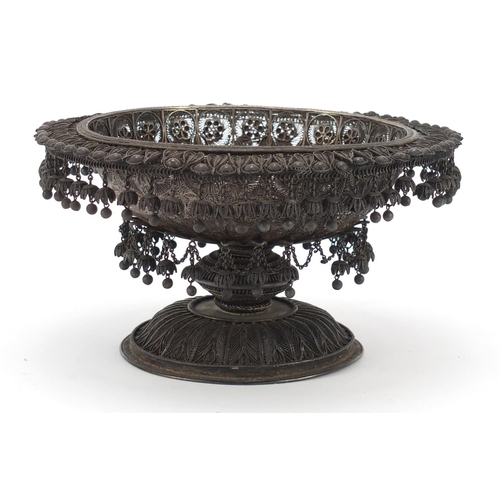 164 - Good Indian Raj unmarked silver filigree pedestal bowl with tassel drops (tests as silver), 13.5cm h...