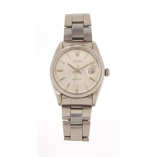 47 - 1980's gentlemen's Rolex Oyster Date Precision wristwatch with stainless steel case, ref 6694, seria...