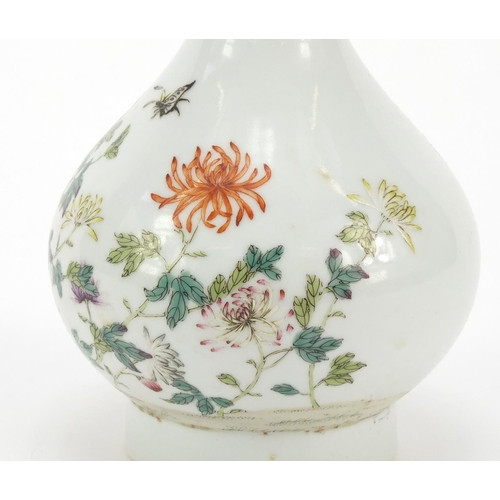 7 - Good Chinese porcelain garlic neck vase, finely hand painted in the famille rose palette with butter...