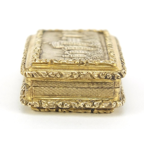 20 - Exceptional George III silver gilt castle top vinaigrette by John Thropp, the hinged lid finely deco...